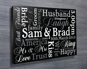 wedding gift ideas, custom canvas