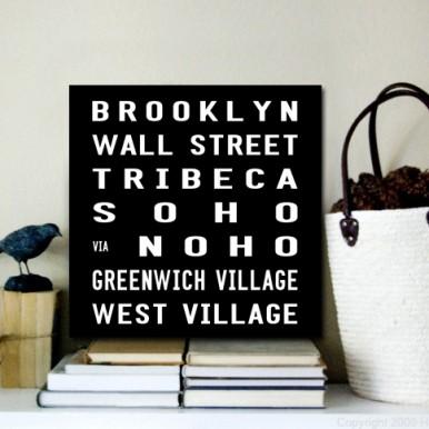Brooklyn Bus Roll Destination Canvas | Brooklyn Bus Roll Square