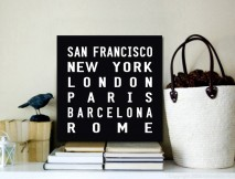 World Cities Word Art Canvas Print