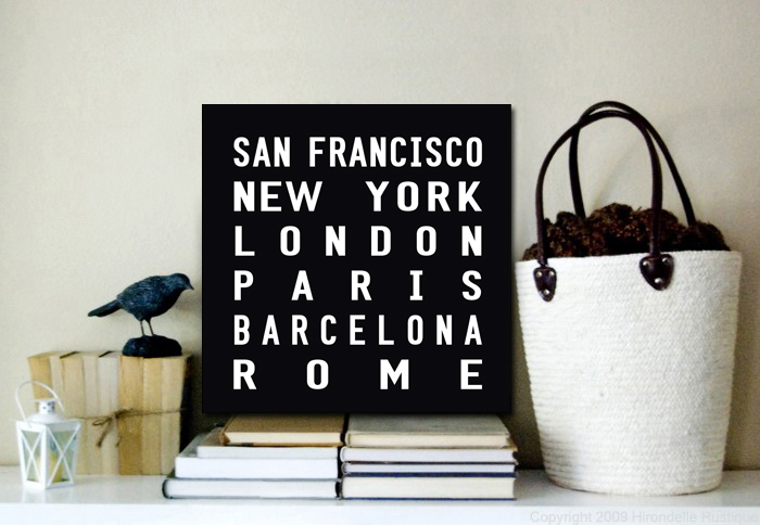 World Cities Word Art Canvas Print | International Square Tram Scroll