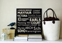 London Custom Wall Art | London Square Bus Scroll