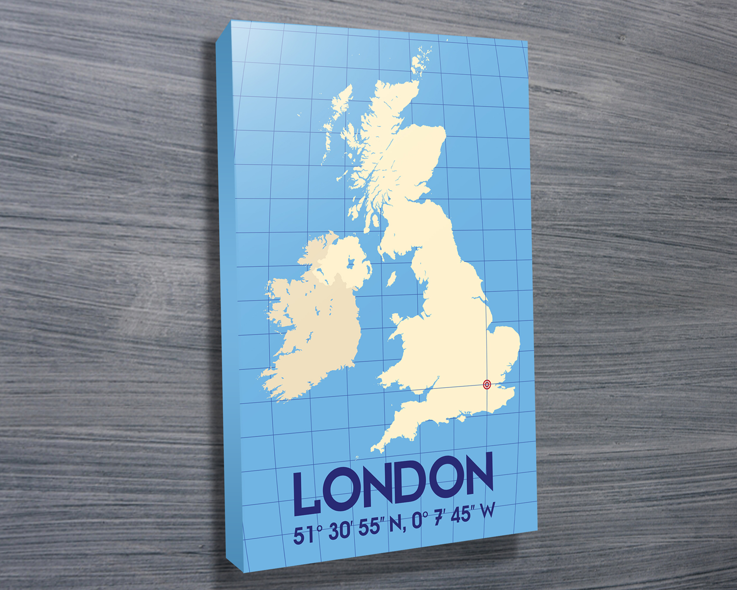 London Coordinates Typographic Art | London – Pastel Blue