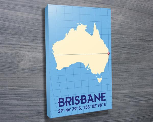 Coordinates Typographic Wall Art Brisbane | Brisbane – Pastel Blue