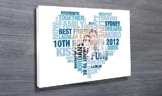 Heart Shaped Personalised Word Cloud Art