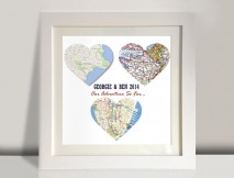 3 heart maps framed art