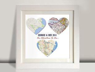 3 heart maps framed art