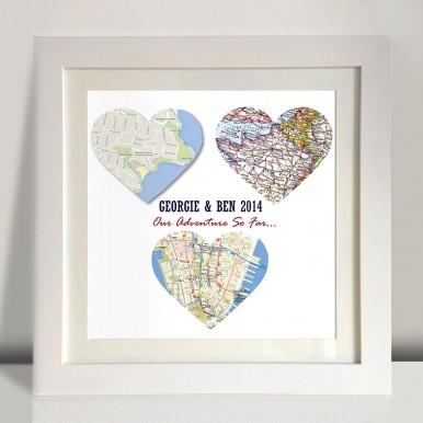 3 heart maps framed art | 3 Personalised Heart Maps