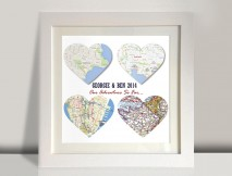 4 heart bespoke maps art