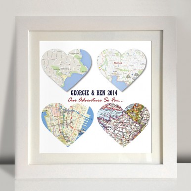 4 heart bespoke maps art | 4 Personalised Heart Maps