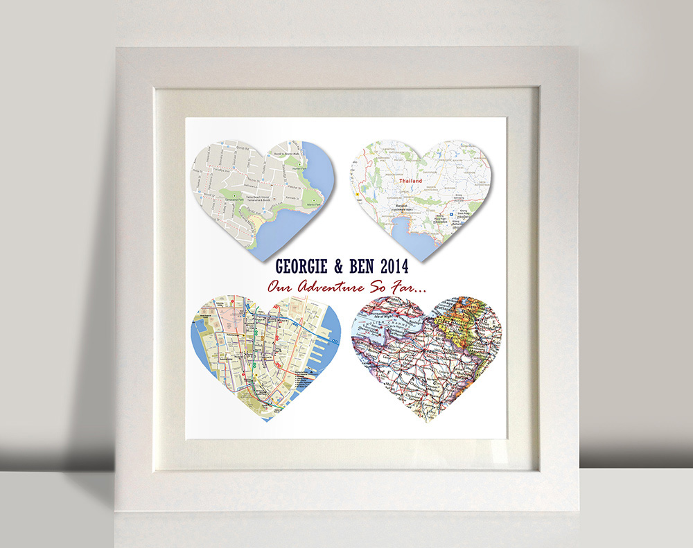 4 heart bespoke maps art | 4 Personalised Heart Maps