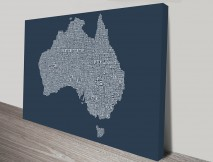 Australia Type Map wall art
