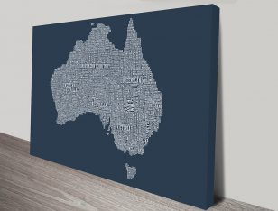 Australia Type Map wall art