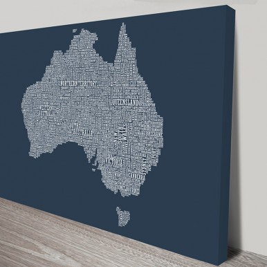 Australia Type Map wall art | Australia Word Map