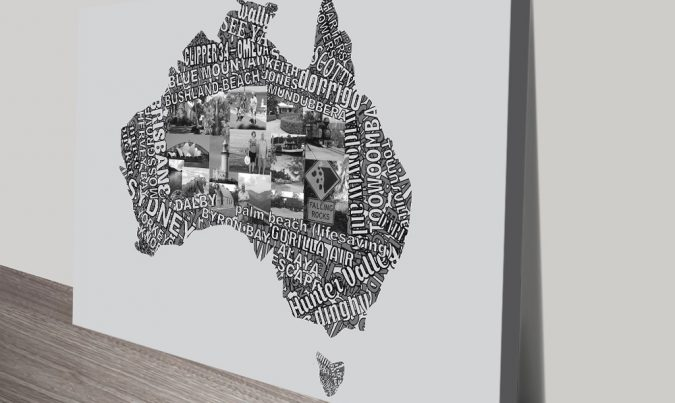 Map Art of Australia Typographic Word Art Print