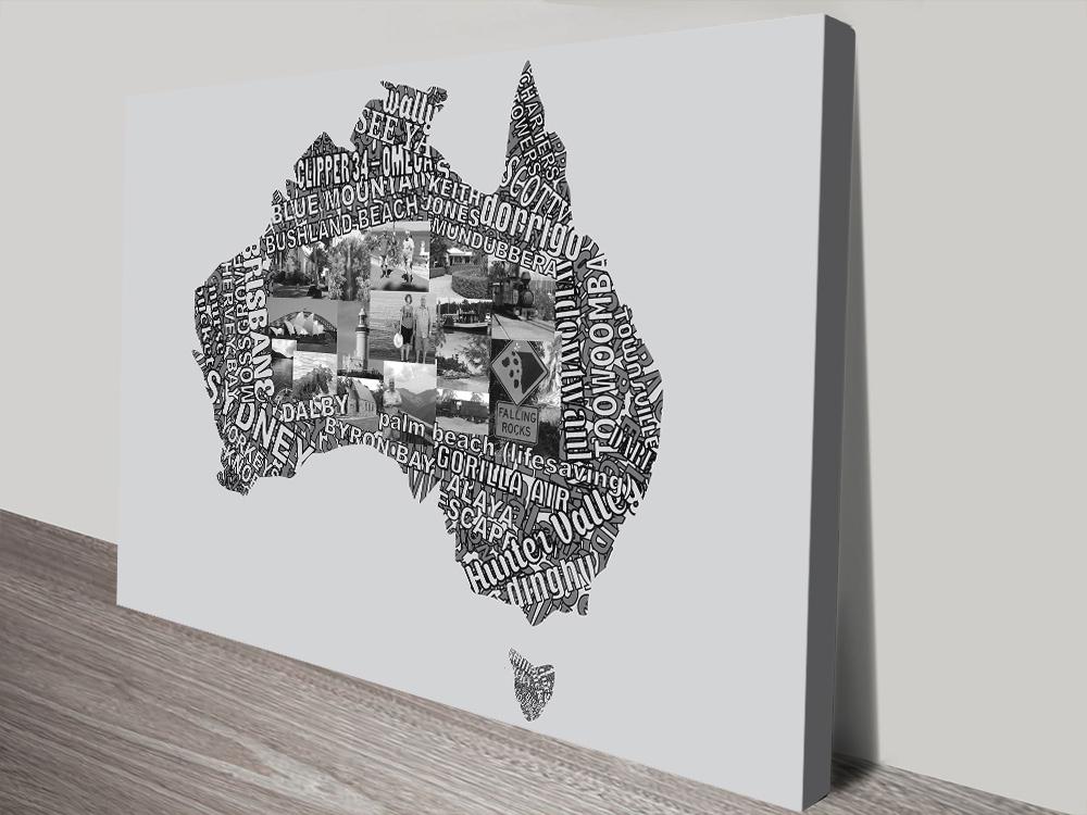 Map Art of Australia Typographic Word Art Print
