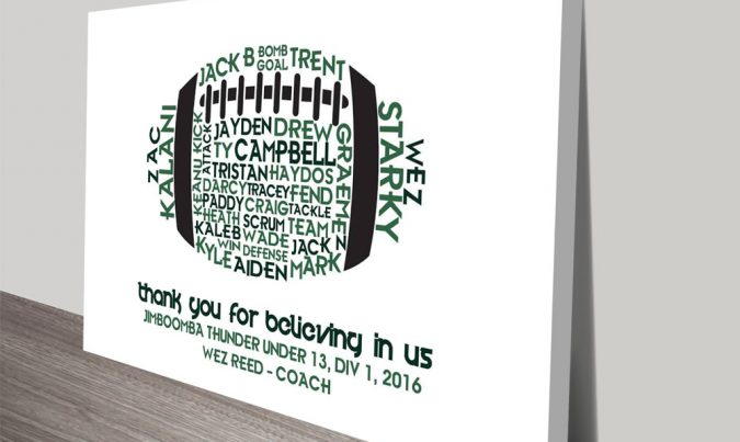 Personalised custom AFL Ball Word Art Gift