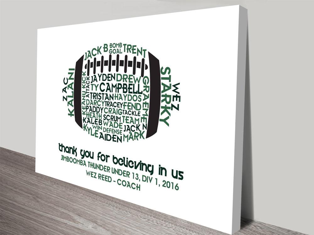 Personalised custom AFL Ball Word Art Gift