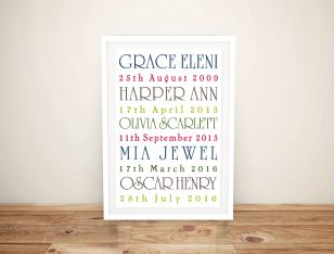 Personalised Coloured Framed Wall Art