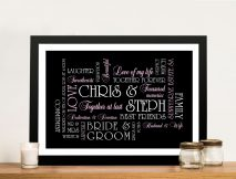 Personalised Wedding Gift Canvas Sydney