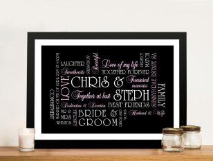 Personalised Wedding Gift Canvas Sydney