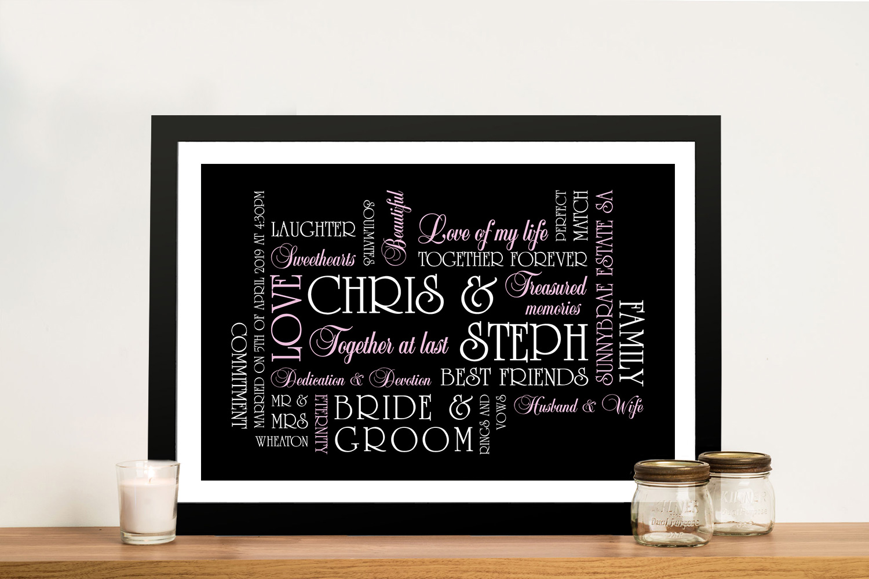 Personalised Wedding Gift Canvas Sydney | The Big Day, Wedding Art