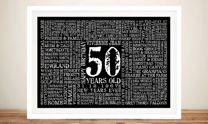 50th Birthday Present Art Present Idea