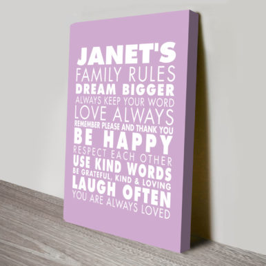 House Rules Personalised Wall Art | House Rules – Style 2
