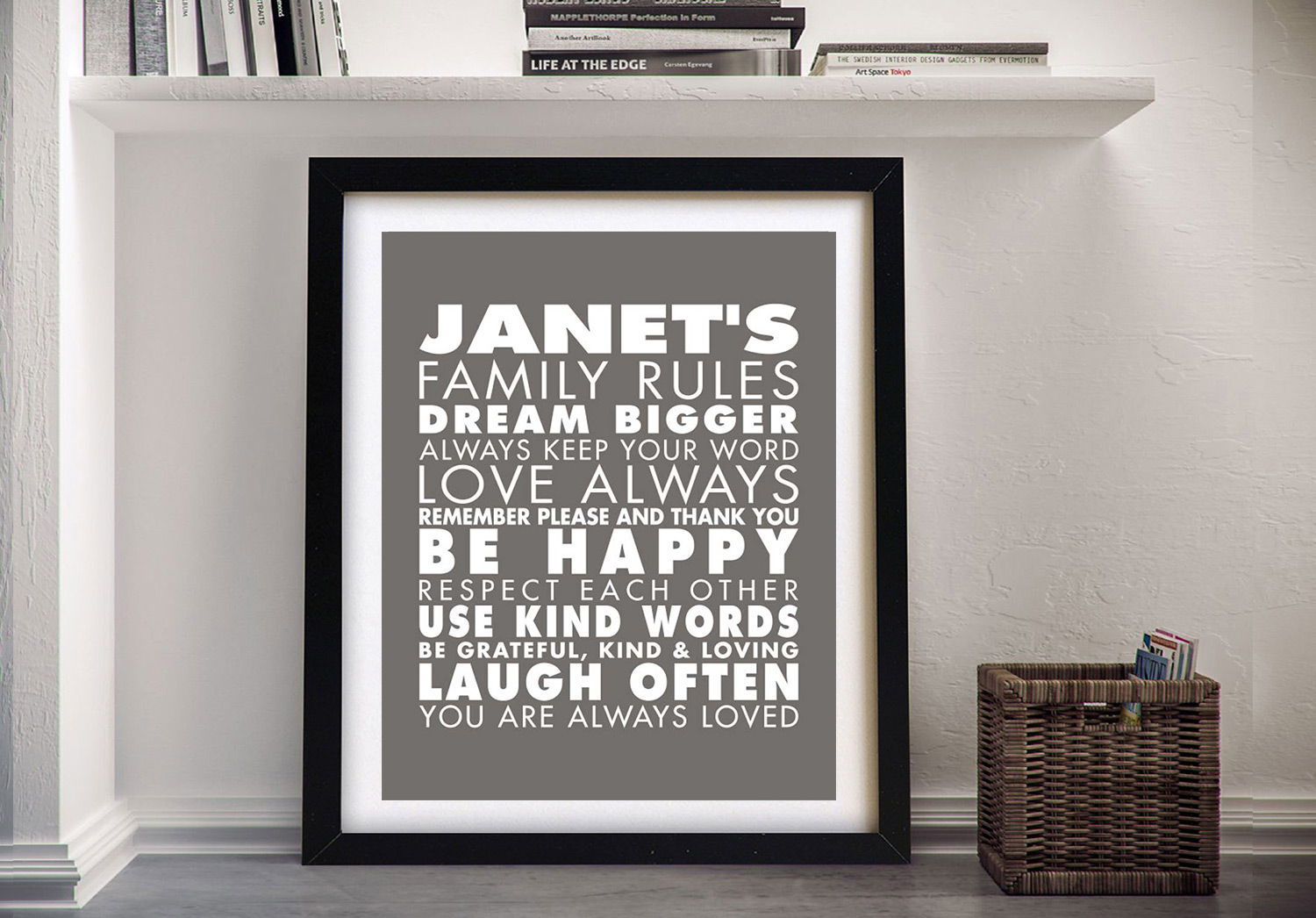 Buy a House Rules Wall Art Print | House Rules – Style 2 – Grey