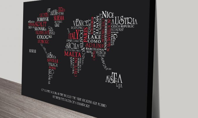 Typographic Word Map custom Wall Picture Sydney