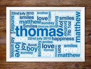 Baby Boy Personalised Art