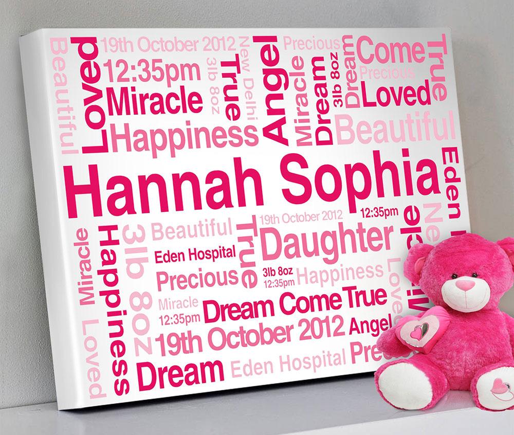 Bespoke Baby Gifts Australia : New born baby personalised canvas print australia