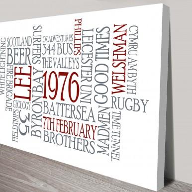 Classic Typographic Word Art on Canvas | Classic Typographic