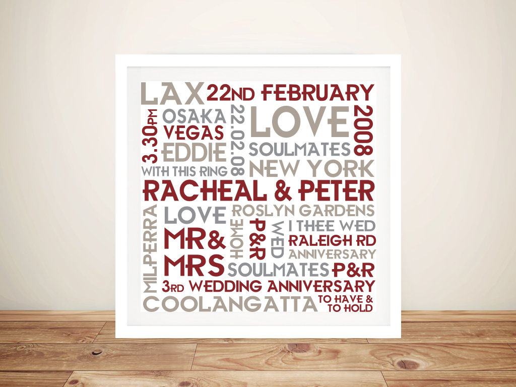 Wedding Anniversary Gift Art Framed Wall Art