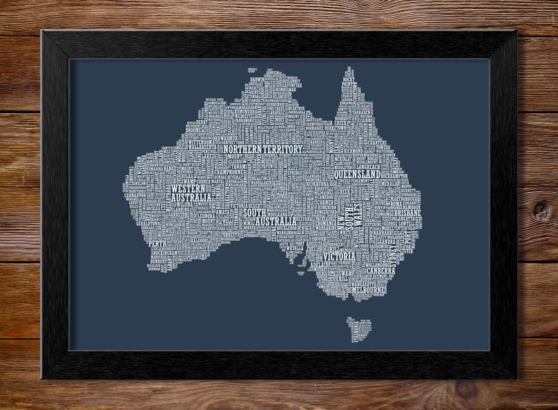Framed Type Map Artwork | Custom Word Maps