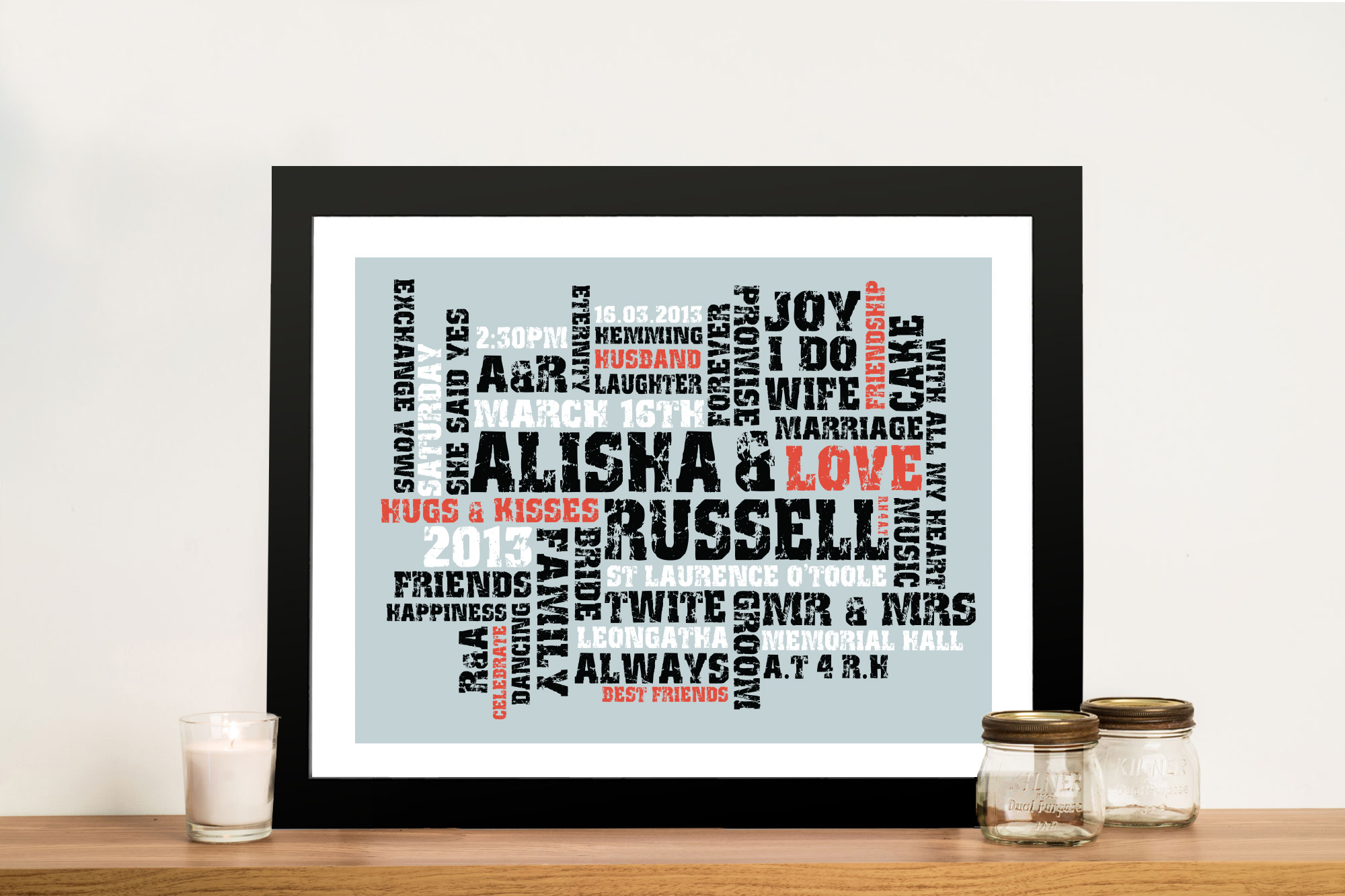 Word Canvas Art Personalised Gift Idea | Egg Shell Typographic