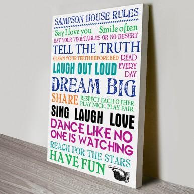 Family House Rules Art | House Rules – Multi-Coloured