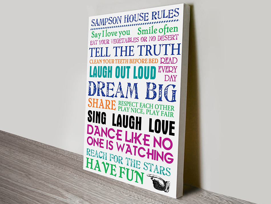 Family House Rules Art | House Rules – Multi-Coloured
