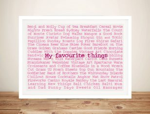 Favourite Things Custom Framed Art Gift Idea