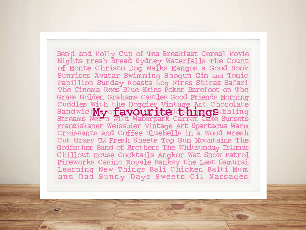 Favourite Things Custom Framed Art Gift Idea | My Favourite Things
