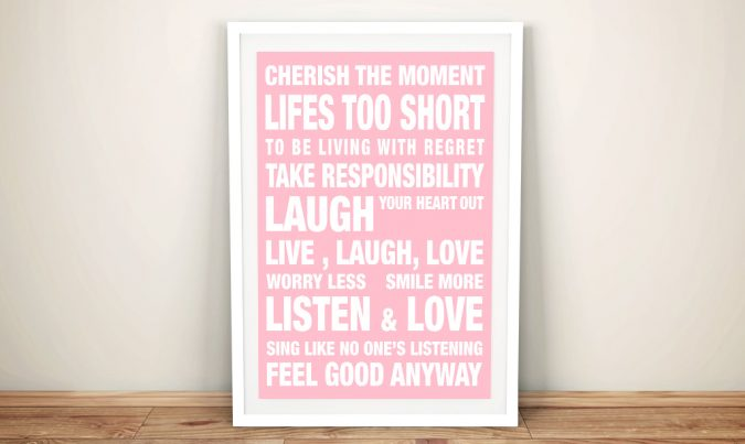 Feel Good Scroll pink Framed Wall Art