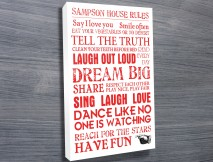 House Rules Personalised Canvas Word Art