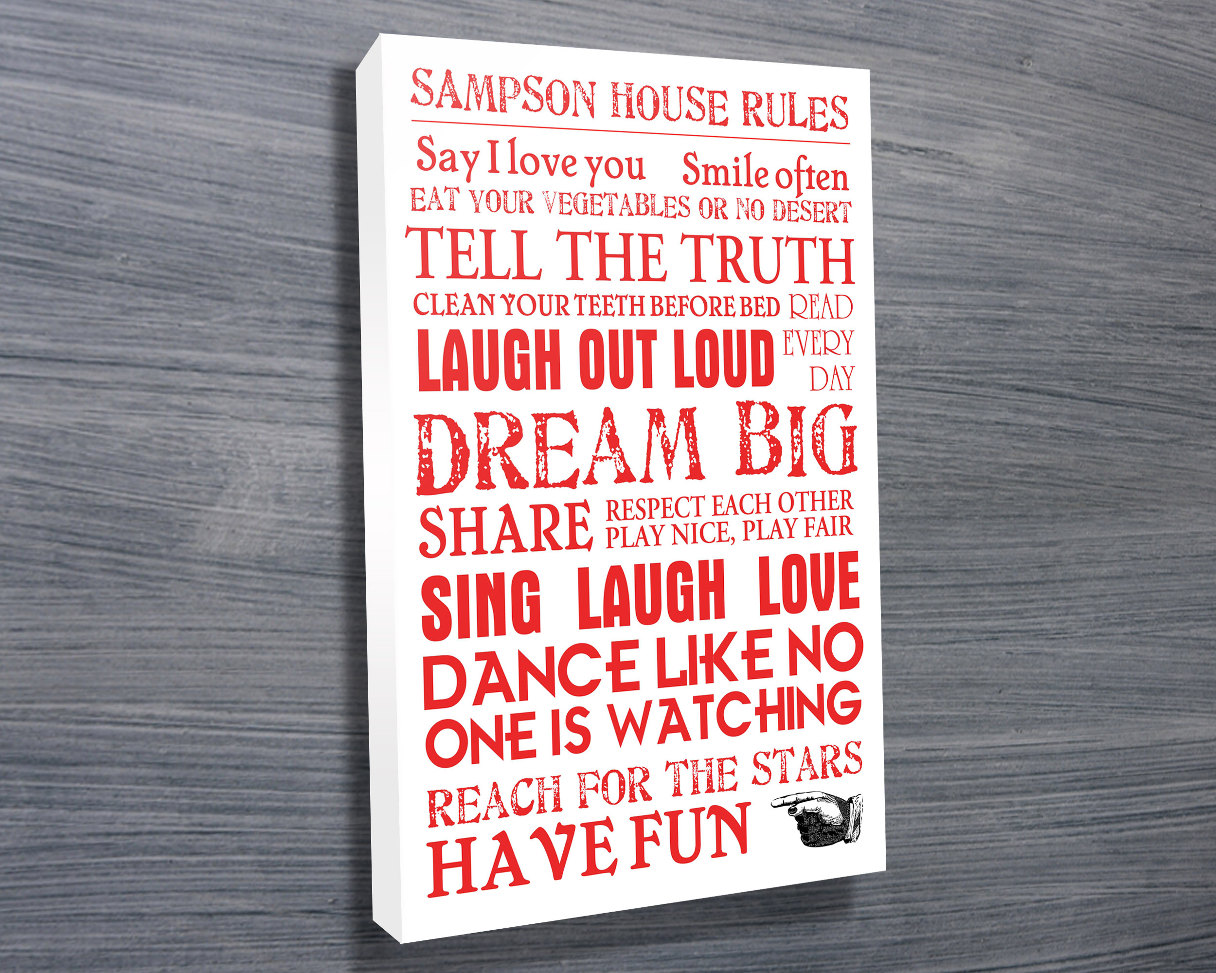 House Rules Personalised Canvas Word Art | House Rules – Red