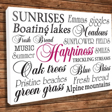 Canvas prints Word Art Online | Happiness White – Bespoke Art