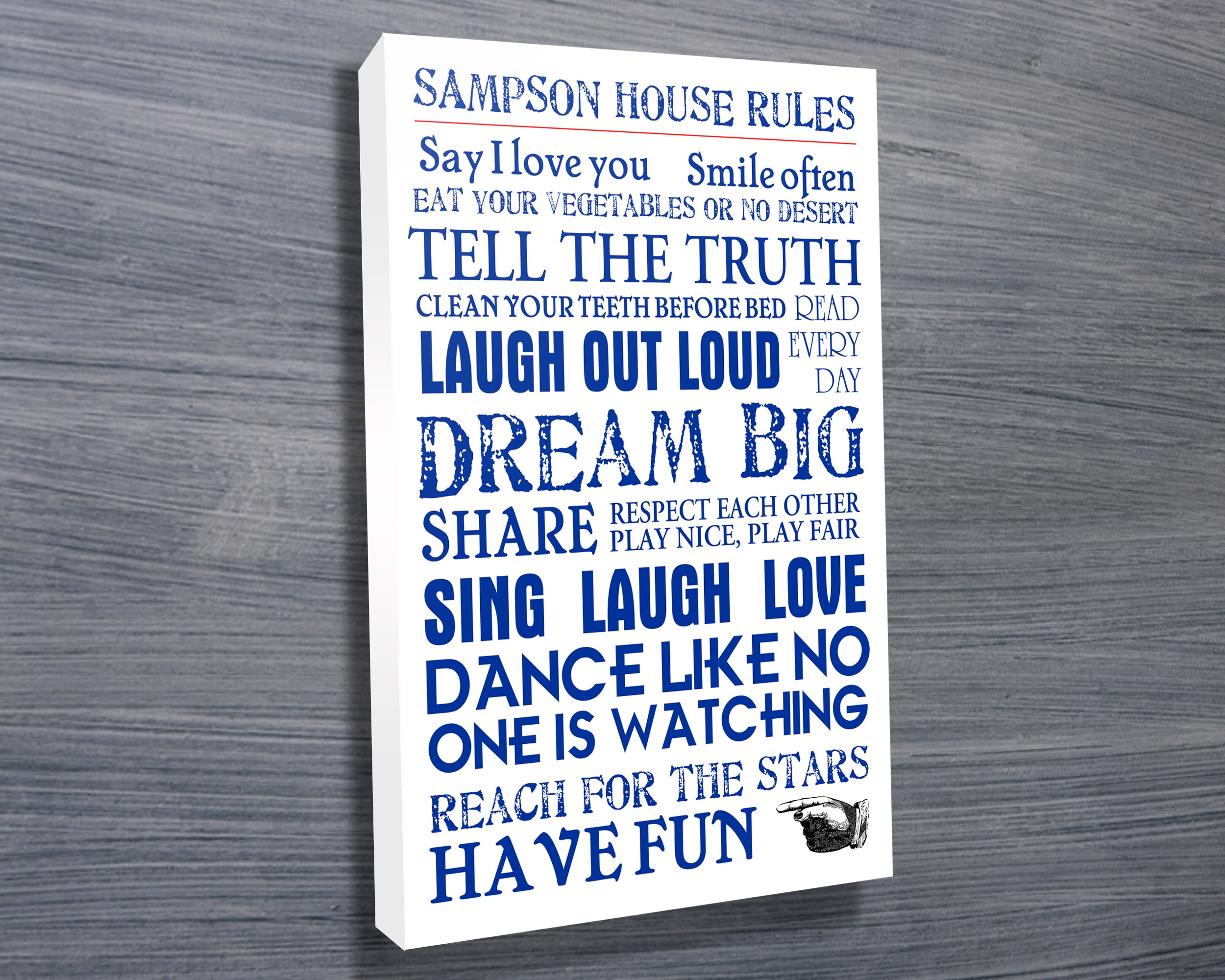 Personalised Wedding Art | House Rules – Blue