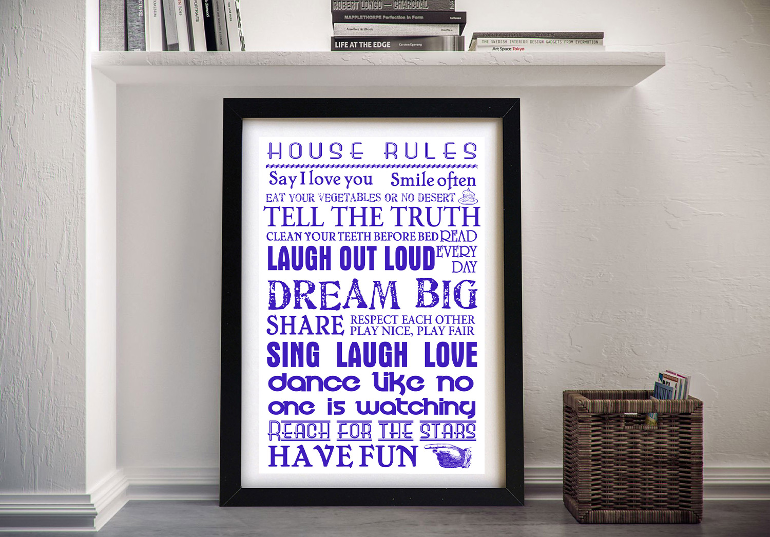 Buy Personalised Wedding Framed Art | House Rules – Blue