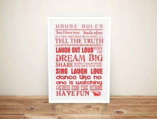 Framed House Rules Canvas Art for Sale