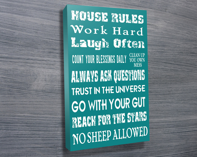House Rules personalised Canvas Prints | House Rules Style 3