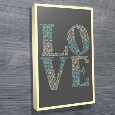 I Love You canvas print | I Love You – Grey
