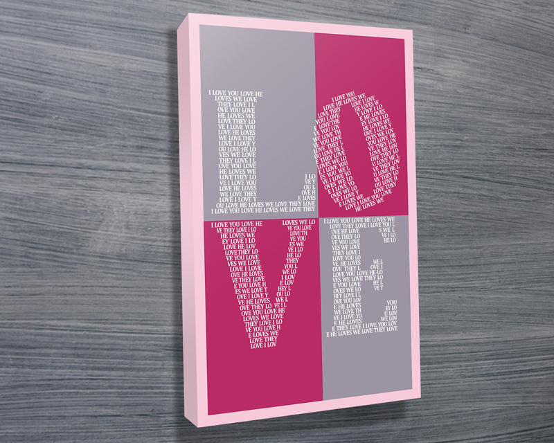 I Love You typography canvas | I Love You – Purple