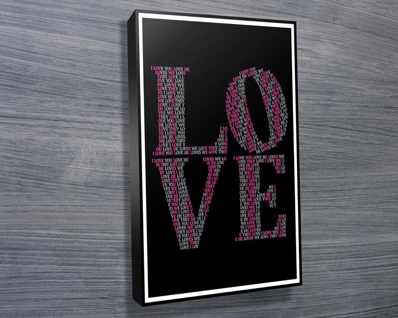 canvasn word art framed | I Love You – Black